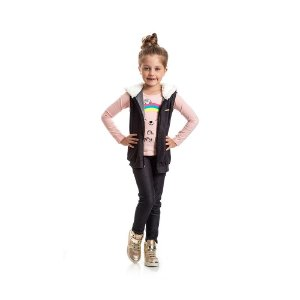 Colete Jeans com Pelucia Infantil Menina Preto