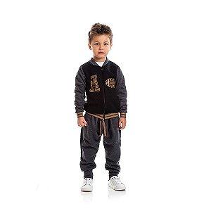 Calça Moletom com Bolsos Infantil Menino Mescla Escuro