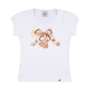 Blusa de Baena Lacinho Infantil Menina Branco