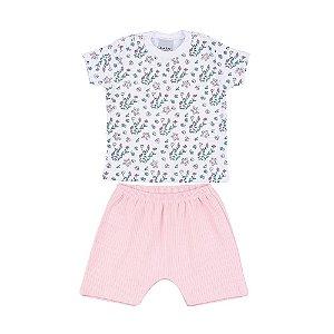 Conjunto Camiseta e Short Florzinha Canelado Infantil Menina