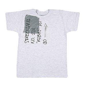 Camiseta Manga Curta Infantil Menino Cinza