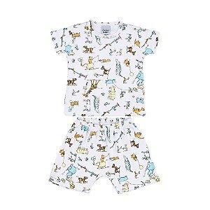 Conjunto Camiseta e Short BIchinhos Suedine Infantil Menino