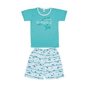 Pijama Curto Tubarão Infantil Menino