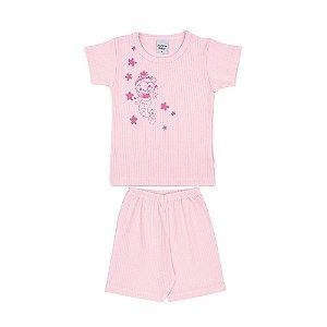 Conjunto Camiseta e Short Sereia Canelado Infantil Menina Rosa