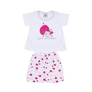 Pijama Curto Love Infantil Menina