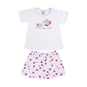 Pijama Curto Chá Infantil Menina