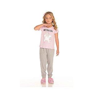 Conjunto Pijama Unicórnio com Calça Infantil Menina