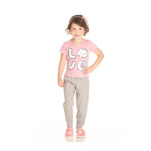 Conjunto Pijama Love com Calça Infantil Menina