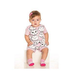 Macaquinho Pijama de Nuvem Infantil Menina