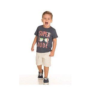 Conjunto Camiseta Super Cool e Bermuda Infantil Menino