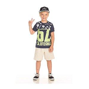 Conjunto Camiseta California e Bermuda Infantil Menino