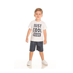 Conjunto Camiseta Just Cool e Bermuda Tactel