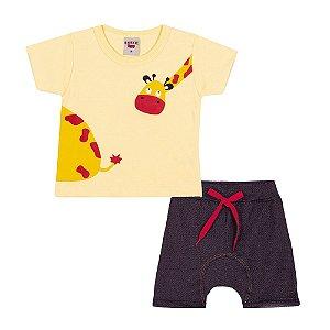 Conjunto Camiseta e Bermuda Saruel Infantil Menino Amarelo