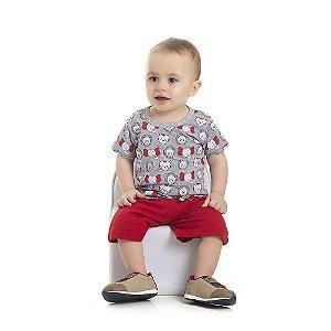 Conjunto Camiseta Bichinhos e Bermuda Infantil Menino Mescla