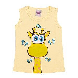 Regata Girafa Infantil Menina Amarelo