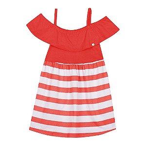 Vestido Meia Malha Listrado Infantil Menina Vermelho