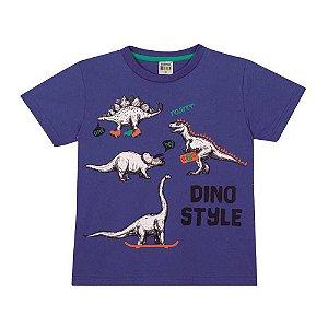 Camiseta Dino Style Infantil Menino Azul