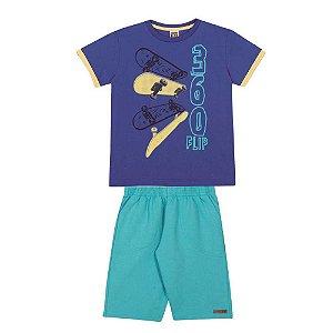 Conjunto Camiseta Skate Manga Curta e Bermuda de Moletinho Infantil Menino Azul