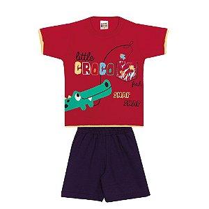 Conjunto Camiseta Crocodilo Infantil Menino Vermelho