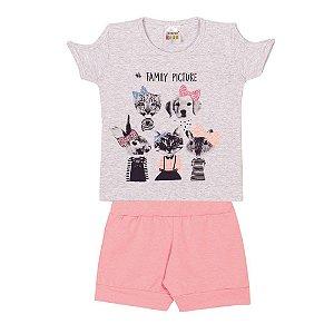 Conjunto Blusa de Gatinhos e Cachorrinhos Infantil Menina Mescla