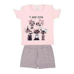 Conjunto Blusa de Gatinhos e Cachorrinhos Infantil Menina Rosa