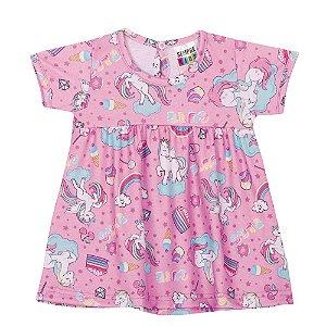 Vestido Unicórnio Manga Curta Infantil Menina Lilás