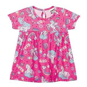 Vestido Unicórnio Manga Curta Infantil Menina Rosa