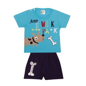 Conjunto Camiseta Cachorrinho Infantil Menino Azul