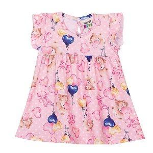 Vestido Ursinho Amoroso Infantil Menina Rosa Bebê