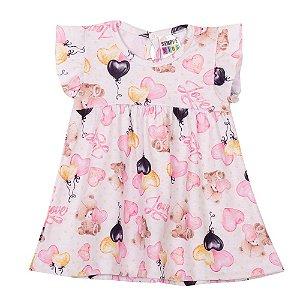 Vestido Ursinho Amoroso Infantil Menina Marfim