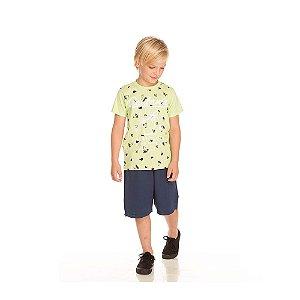 Conjunto Camiseta e Bermuda Moletinho Infantil Menino Verde