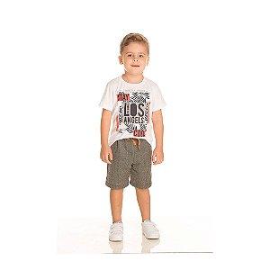 Conjunto Camiseta Los Angeles e Bermuda Infantil Menino Branco