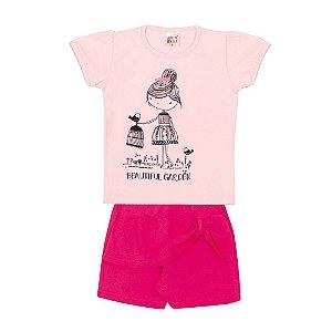 Conjunto Blusa e Short Franzido Infantil Menina Rosa