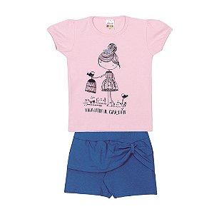 Conjunto Blusa e Short Franzido Infantil Menina Lilás