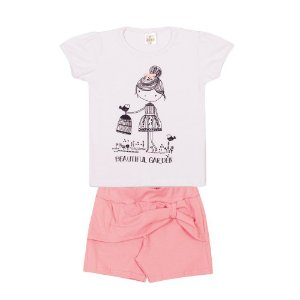 Conjunto Blusa e Short Franzido Infantil Menina Branco