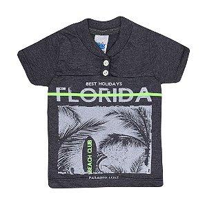 Camiseta Manga Longa Florida Infantil Menino Mescla