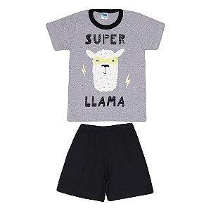 Pijama Llama Brilha no Escuro Infantil Menino Mescla