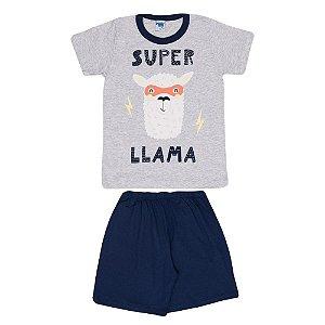 Pijama Llama Brilha no Escuro Infantil Menino Mescla Claro