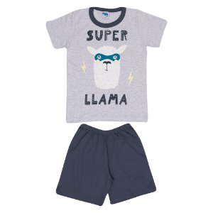 Pijama Llama Brilha no Escuro Infantil Menino Mescla Banana