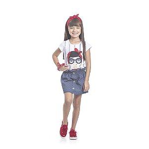 Conjunto Blusa e Short Saia Infantil Menina Branco