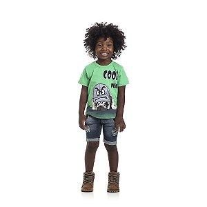 Camiseta Manga Curta Cool Pug Infantil Menino Verde