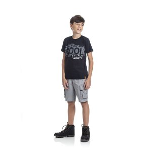 Camiseta Manga Curta Just Be Cool Infantil Menino Preto