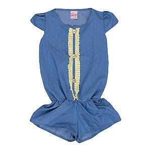 Macaquinho de Tecido Infantil Menina Azul