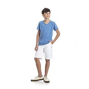 Camiseta Basica Gola V Infantil Menino Azul