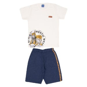 Conjunto Camiseta Manga Curta e Bermuda Moletom Infantil Menino