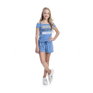 Macaquinho Believe Infantil Menina Azul