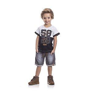 Conjunto Camiseta Cool e Bermuda Infantil Menino