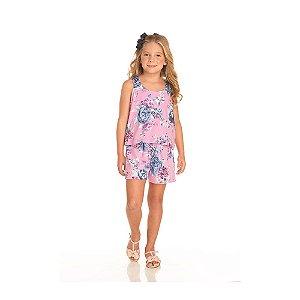 Macaquinho Floral Rosa Infantil Menina
