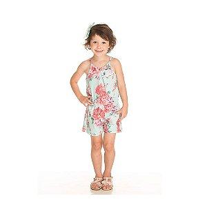 Macaquinho Floral Verde Infantil Menina