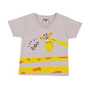 Camiseta Girafa Infantil Menino Cinza Claro